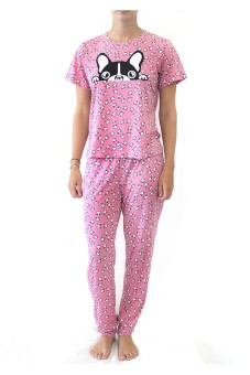 Woman Set Pajamas T-Shirt & Trousers (Print Kepala Anjing) - Pink