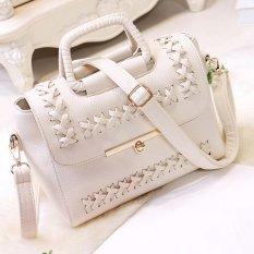 Woman Vintage Top-handle Casual PU Leather Message Handbag Single Shoulder Shoulder Bag B6 (White) - Intl