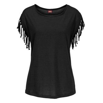 Womdee Women Fashion Round Neck Short Sleeve Loose Black Tassel Shirt Top - Intl