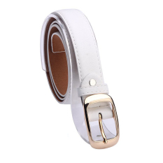 Women Belt Faux Leather Metal Buckle Straps Girls Fashion Accessories, White - Intl (Intl)