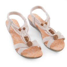 Women Bohemian Pure Color Low Wedges Lace Up Beach Sandals (White)