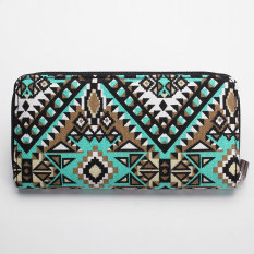 Women Canvas Purse Lady Geometric Print Long Handbag Wallet Bohemia Zip Pocket Green