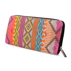Women Canvas Purse Lady Geometric Print Long Handbag Wallet BohemiaZip Pocket Beige - Intl