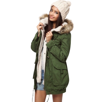 Women Casual Outwear Military Hooded Coat Green