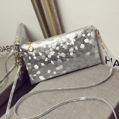 Women Clutch Dazzling Sequins Glitter Sparkling Handbag Evening Bling Purse Bag Silver
