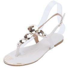 Women Fashion Shoes Rhinestone Sandals Bohemian Sandals (White) - Intl