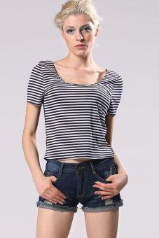 Women Fashion Short Sleeve Stripe O-Neck Tops T-shirts (Black / White) (Intl) - Intl
