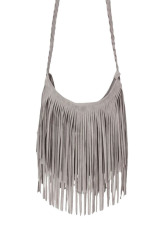 Women Fashion Tassel Suede Fringe Single Shoulder Handbag Gray