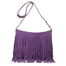 Women Fashion Tassel Suede Fringe Single Shoulder Handbag Purple - Intl