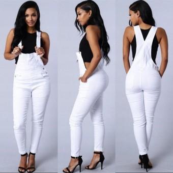 8a8bc4ed4c Women Full Length Denim Jumpsuits Slim Bodysuit Overalls (White) - intl
