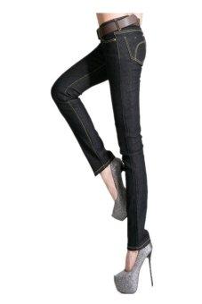 Women High waist Carry buttock Skinny Jean Pants (Black) (Intl)