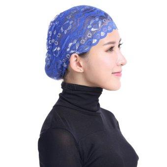 Women Lace Inner Hijab Cap Muslim Turban Stretchy Shinning Islamic Bonnet Outside Underscarf Royal Blue - intl