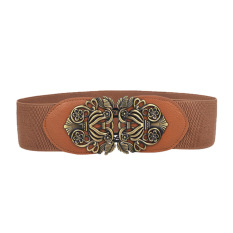Women Ladies Metal Retro Carving Pattern Interlocking Buckle Adjustable Belts Elastic Cinch Waist Belt Strap For Women Camel - Intl