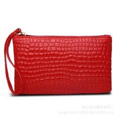 Women Portable Alligator Texture Wallet Zipper Clutch Bag Handbag Coin Purse (Red) - Intl