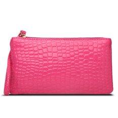 Women Portable Alligator Texture Wallet Zipper Clutch Bag Handbag Coin Purse (Rose Red)
