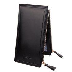 Women PU Leather Zipper Coin Purse Long Wallet With Zipper (Black)