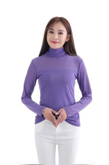 Women Sexy Long Sleeve Heaps Collar T-Shirts Pure Color Slim Shirts Inner Wear Blouse Casual Tee Tops Purple - intl