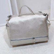 WAN Tas Wanita Women Fashion PU Tote Bag Leather Motif 3D Handbags Shoulder Bags - BLACK
