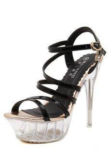 Women Stripe Sexy Crystal High Heel Peep Toe Sandals Gold - INTL