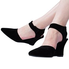 Women Summer Fashion Ankle Pointed Toe Sexy Sandals High Heels Shoes(Black)(Size:37) - intl