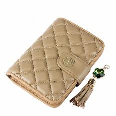 Women Wallet Bags Best Leather Plaid Zipper Tassel Clutch Purse Lady Short Handbag Bag (Beige) - Intl