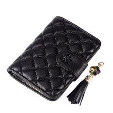 Women Wallet Bags Best Leather Plaid Zipper Tassel Clutch Purse Lady Short Handbag Bag (Black)