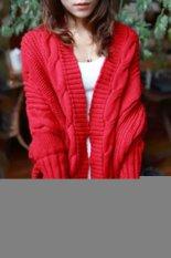 Women Winter Casual Batwing Sleeve Knitting Sweaters Loose Wraps Bat Sleeve Cardigans Winter Shawl New Knitwear Sweater Red (Intl)