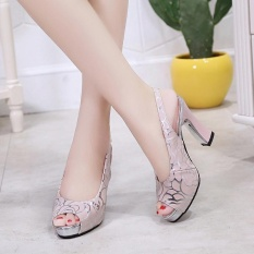 Women's Sexy Leather Upper High Heels Sandals 9cm Thick Heeled Shoes (Pink) - intl