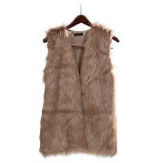 Women's Brown Plus Size Faux Fur Vest Special Slim Long Fuax Fur Coat Women XXL Top Rabbit Fur Femme Vest Long Coat