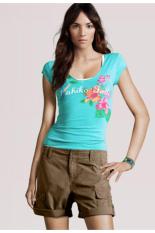 Women's Casual Deep O-neck Slim Short Sleeve T-shirt (Green) (Intl)