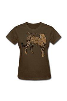 Women's Cheetah Big Cat Designed T-Shirt For Brown