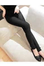 Women's Elastic Leggings Casual Pleated Trousers Pencil Pants Trousers Black
