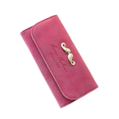 Women's Fashion Frosted PU Leather Long Coin Purse Casual Folding Clutches (Rose)