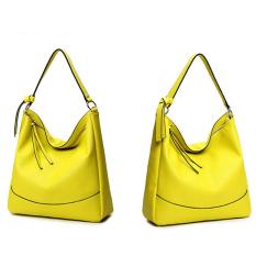 Women's Fashion PU Leather Shoulder Bags Tote Bags Top-Handle Handbag (Yellow) - Intl