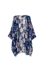 Women's Girls Floral Printing Long Loose Knitted Cardigan Shawl Cape Sweater Coat - Size M Blue