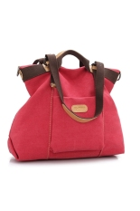 Women's Girls Large Capacity Leisure Canvas Handbag Tote Shoulder Bag Cross-body Messenger Bag Travel Bag Red
