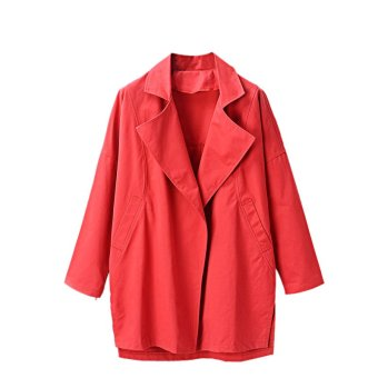 Women's Graceful Tailored Collar Coat (Red)
