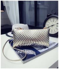 Women's Leather Mini Cross Body Chain Fingernail Pattern Shoulder Bag Handbag Purse (Golden)
