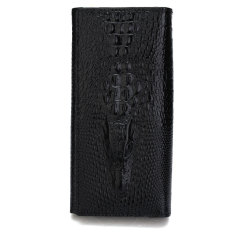 Womens Leather Wallets Holders Crocodile Medium Long Purse (Black)
