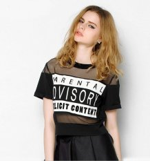 Women's Letter Print With Gauze Perspective T-shirt Black