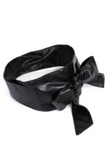 Women's Long Soft PU Self Tie Bowknot Band Sash Wide Belt Waistband Black