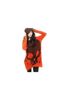 Women's Loose Skull Print Long Sleeve Shirt Round Neck Shirt (Orange)