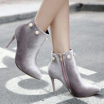 Women's Pointed Toe Stiletto Ankle Boots London Party High Heels with Rhinestone Grey - intl
