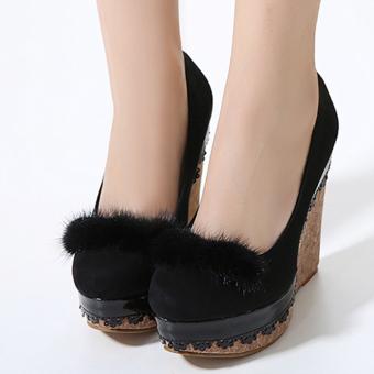 Women's Round Toe Wedge High Heels Korean Shoes Black - intl