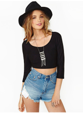 Womens Sexy Scoop Neck Backless Casual Tops Sleeve Crop Top T Shirt L1055 (Intl)