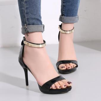 Women's Stiletto Sandals London Plus-size Ankle Strap Heels Black - intl