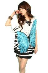 Women's Summer Fashion Casual Slim Show Thin Butterfly Print Top Blue