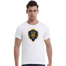 World Of Warcraft King Lion Cotton Soft Men Short T-Shirt (White) - Intl