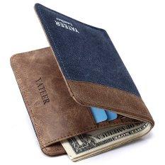 YATEER Fashion Dompet Pria Men Ultra Thin Patchwork Canvas Soft Slim Wallet 218691fb61