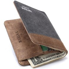 YATEER Fashion Dompet Pria Men Ultra Thin Patchwork Canvas Soft Slim Wallet